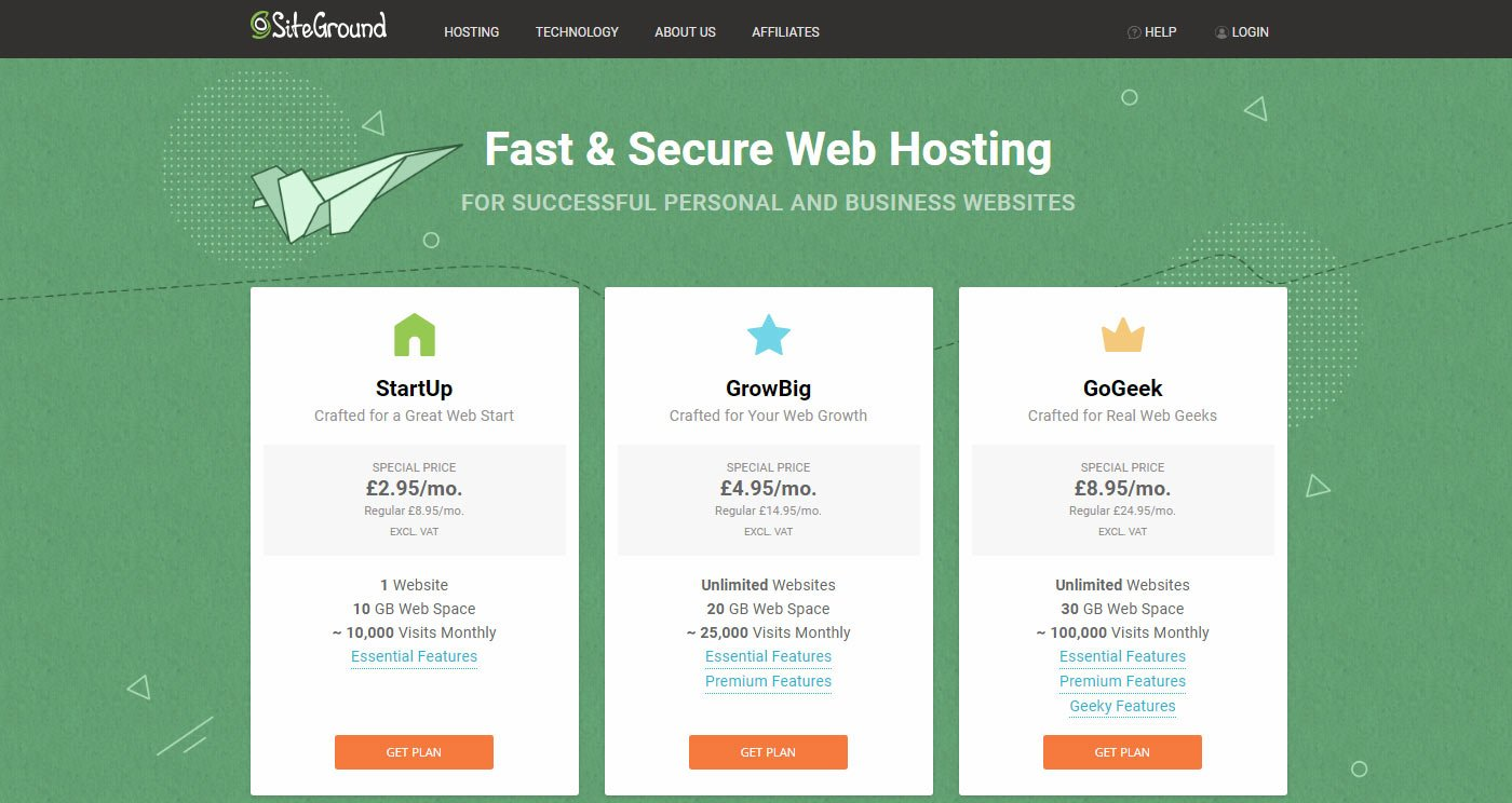 How To Start A Blog And Make Money - Siteground Hosting Plans