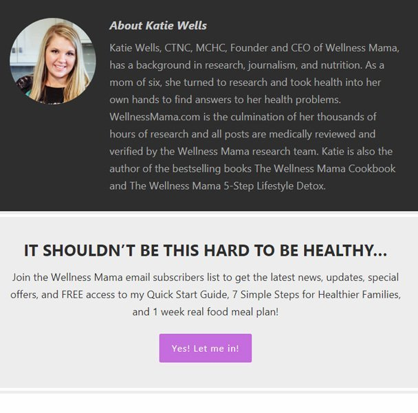 Health Blog Opt In Example