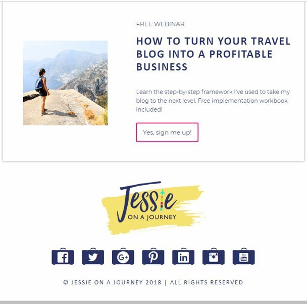 Travel blog email opt in example