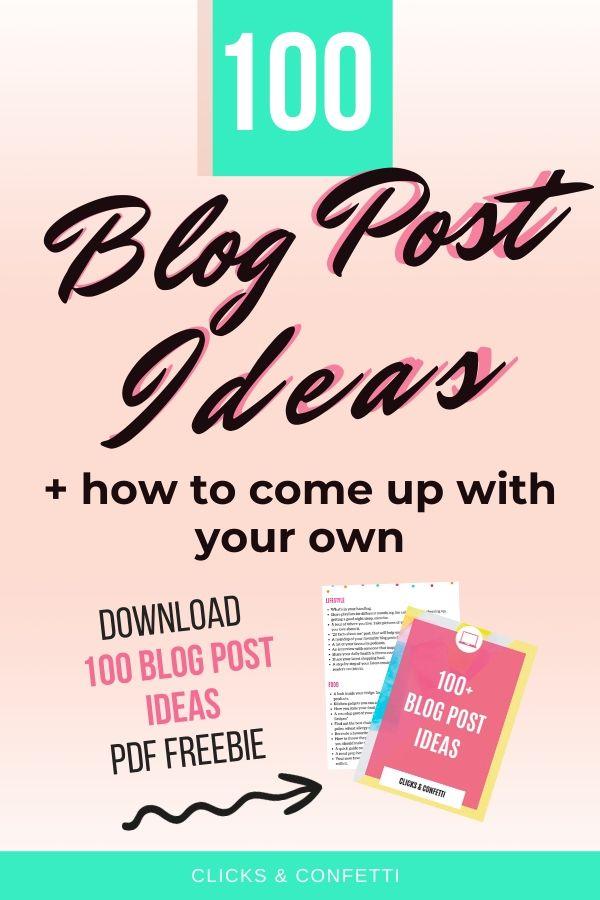 100 Blog Post Ideas Free PDF Download